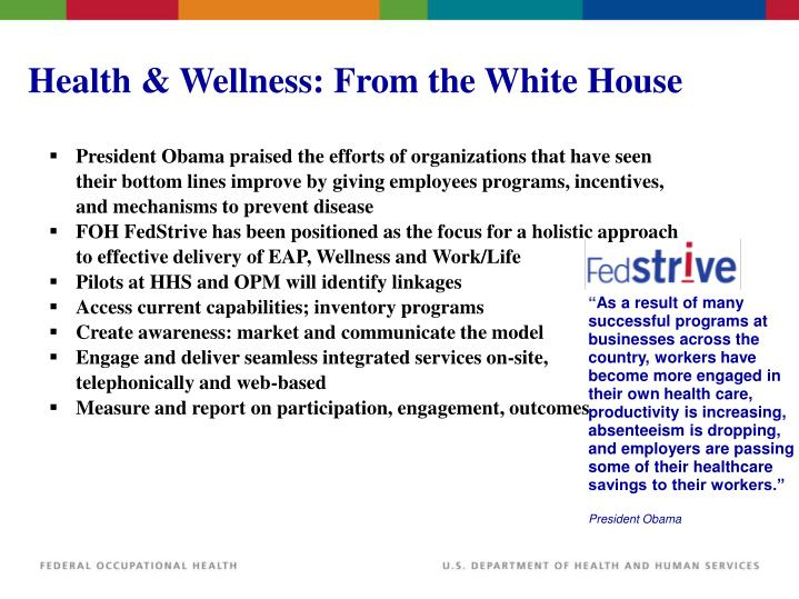 Health & Wellness: From the White House
