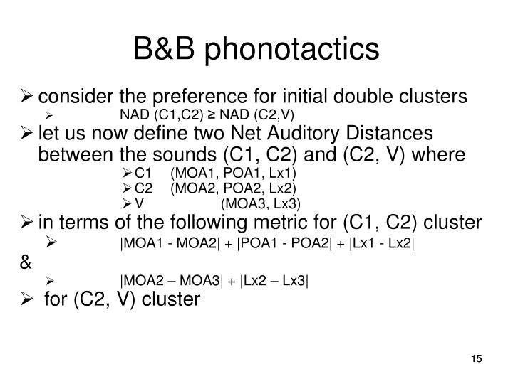 B&B phonotactics
