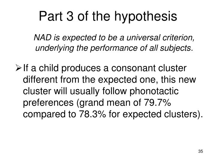 Part 3 of the hypothesis