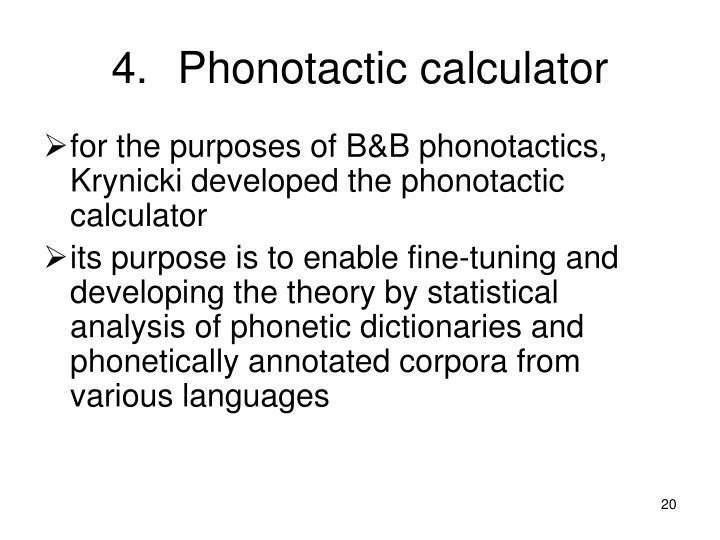 Phonotactic calculator