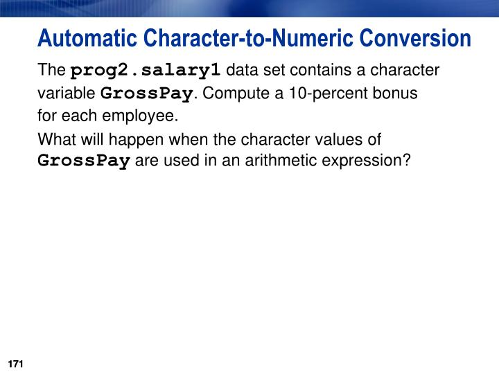 Automatic Character-to-Numeric Conversion
