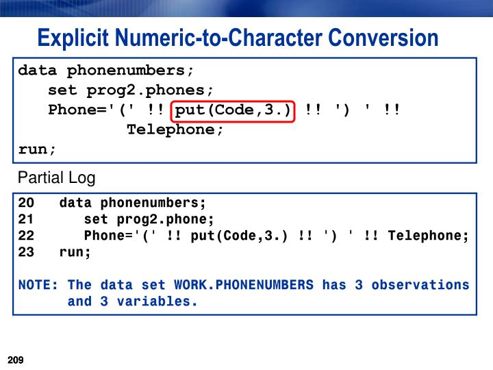 Explicit Numeric-to-Character Conversion