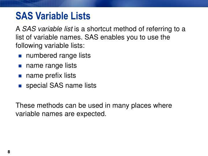 SAS Variable Lists