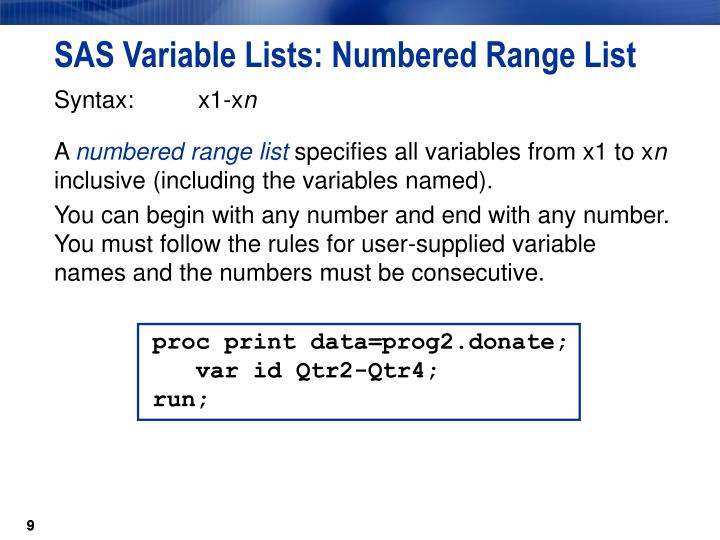 SAS Variable Lists: Numbered Range List