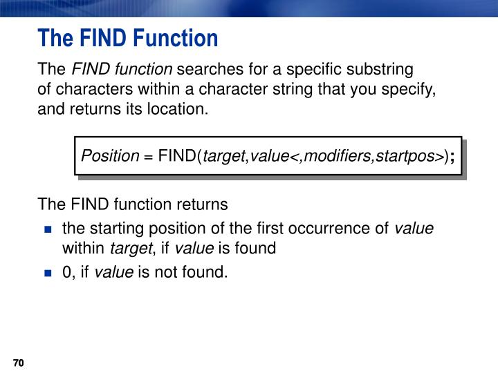 The FIND Function