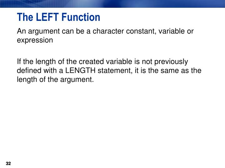 The LEFT Function