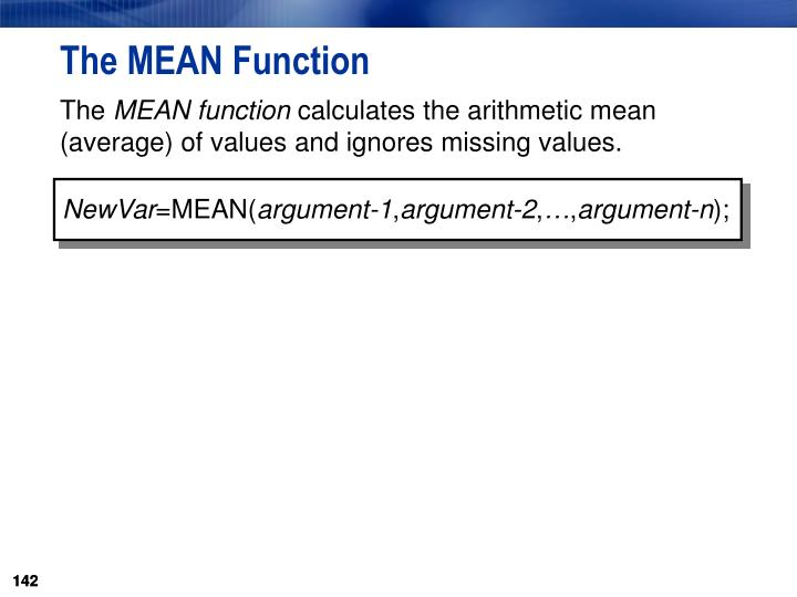 The MEAN Function