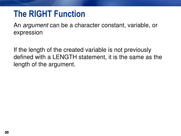 The RIGHT Function