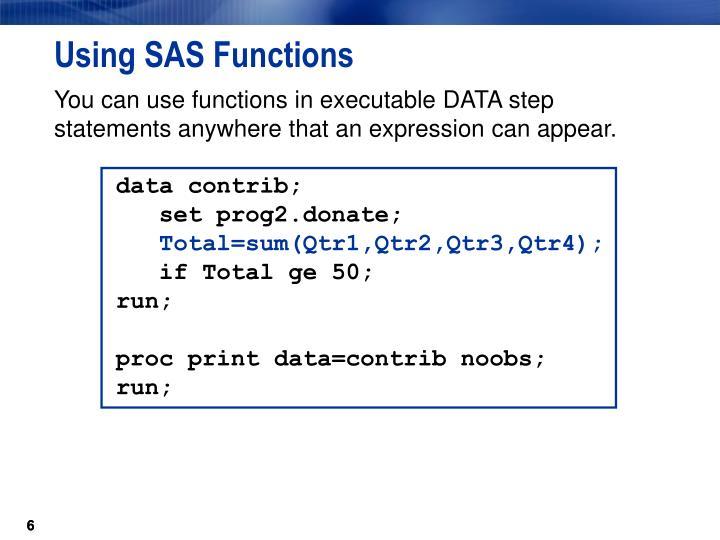 Using SAS Functions