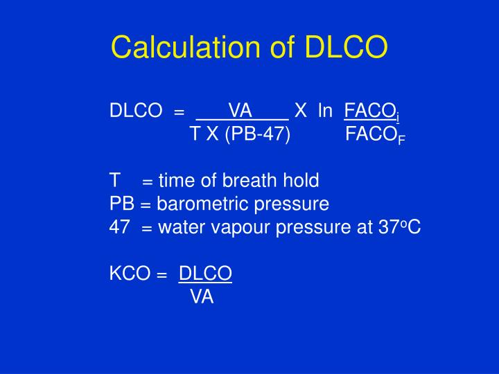 Calculation of DLCO