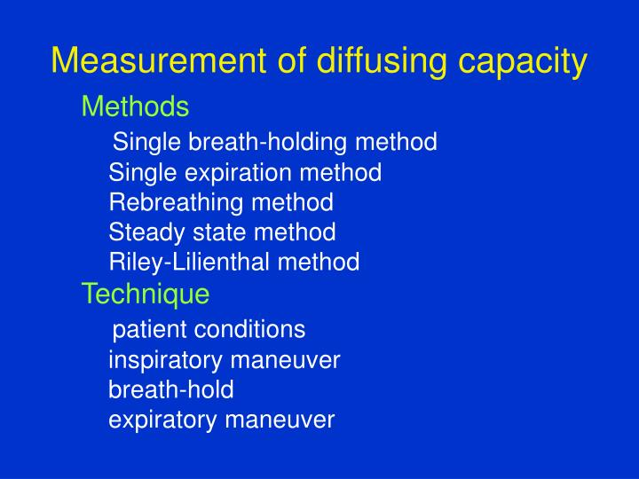 Measurement of diffusing capacity