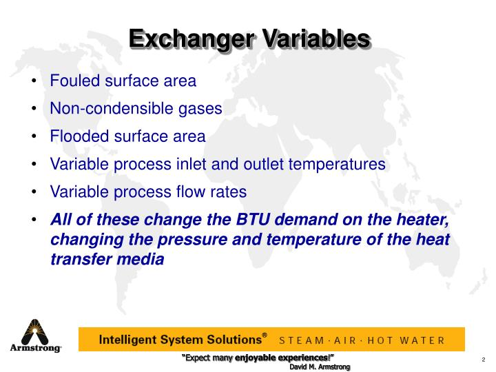 Exchanger variables