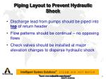 piping layout to prevent hydraulic shock