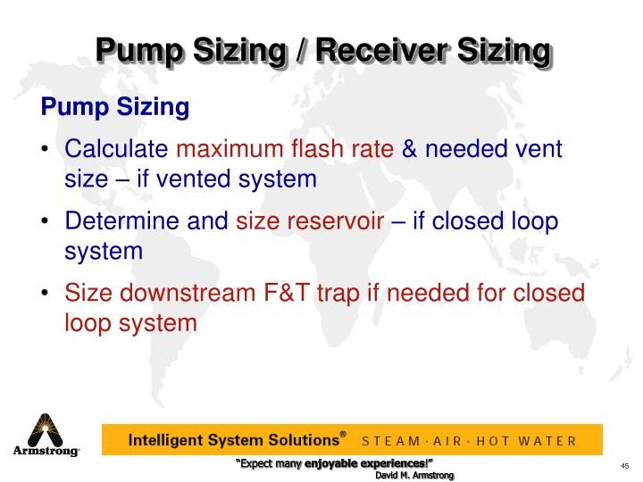 Pump Sizing / Receiver Sizing