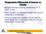temperature differential of source vs header