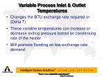variable process inlet outlet temperatures