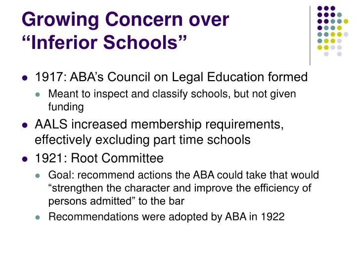 "Growing Concern over ""Inferior Schools"""