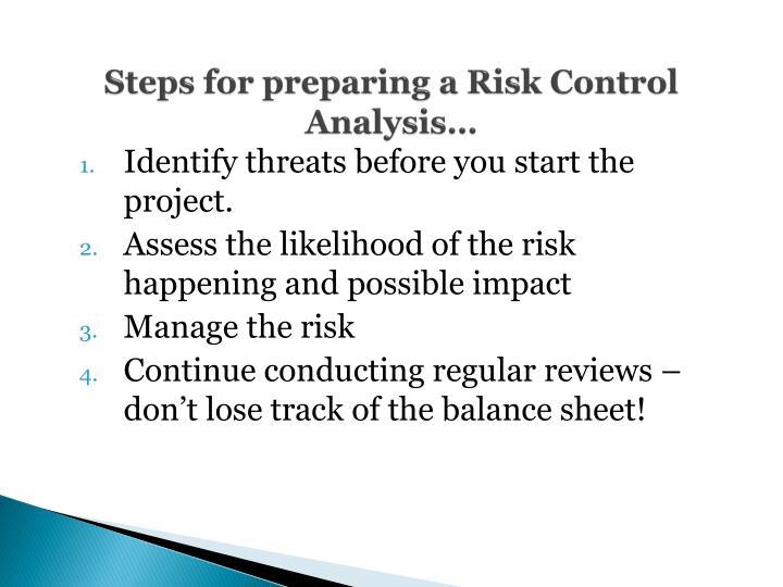 Steps for preparing a Risk