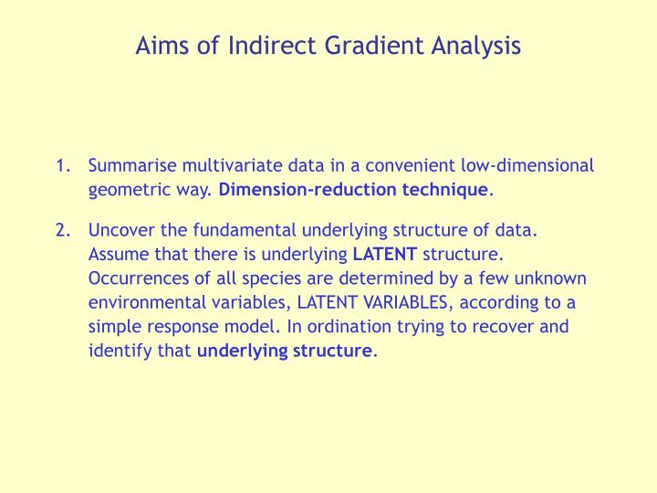 Aims of Indirect Gradient Analysis