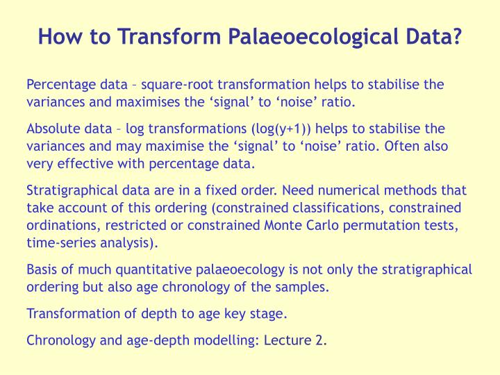 How to Transform Palaeoecological Data?