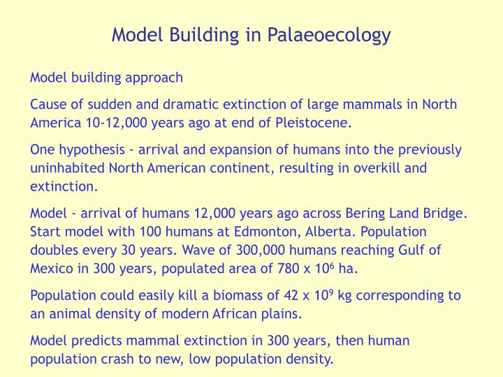 Model Building in Palaeoecology