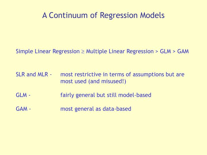 A Continuum of Regression Models