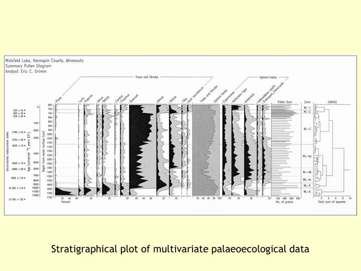Stratigraphical plot of multivariate palaeoecological data