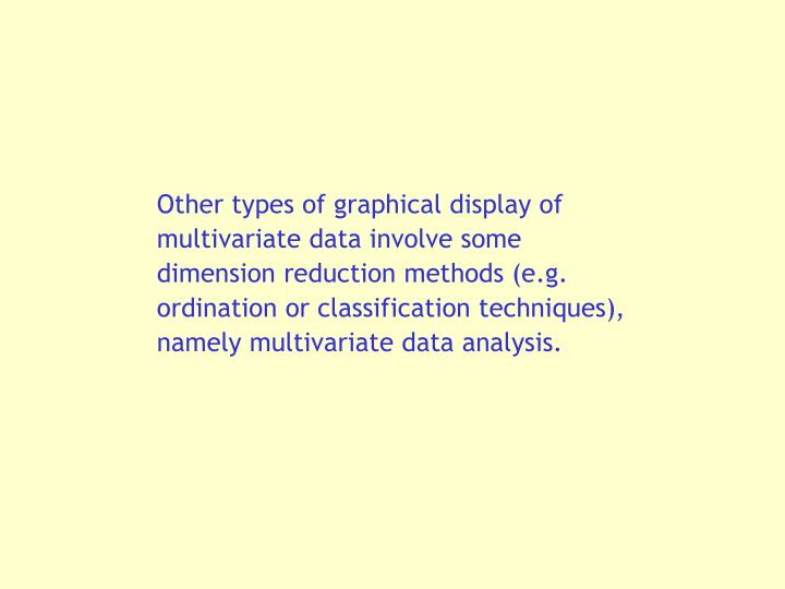 Other types of graphical display of multivariate data involve some dimension reduction methods (e.g. ordination or classification techniques), namely multivariate data analysis.