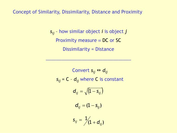 Concept of Similarity, Dissimilarity, Distance and Proximity