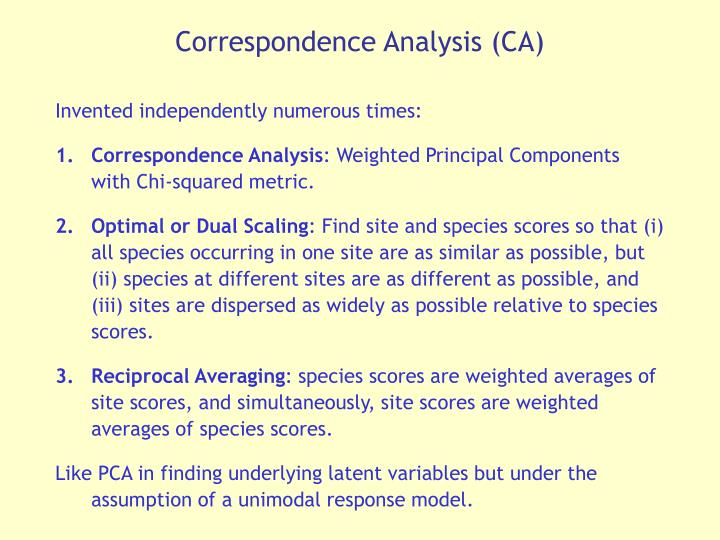 Correspondence Analysis (CA)