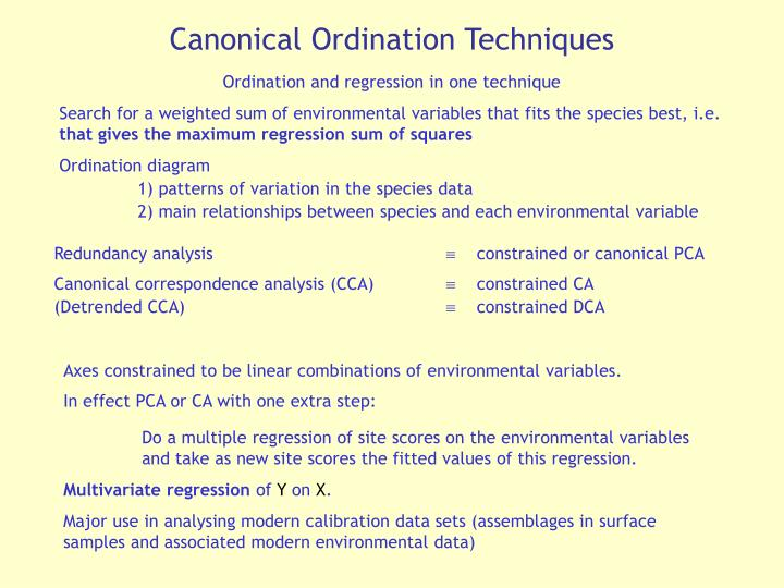 Canonical Ordination Techniques