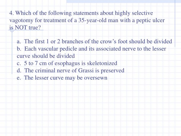4. Which of the following statements about highly selective vagotomy for treatment of a 35-year-old man with a peptic ulcer is NOT true?