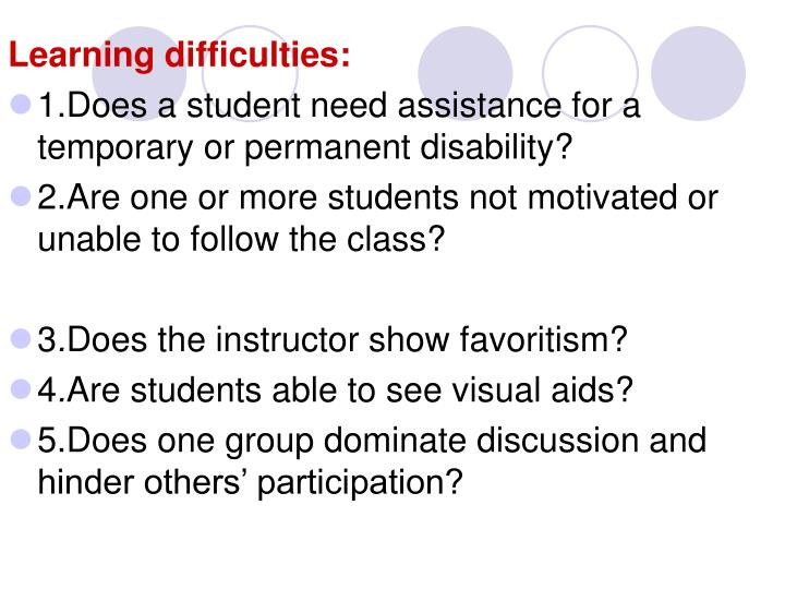Learning difficulties: