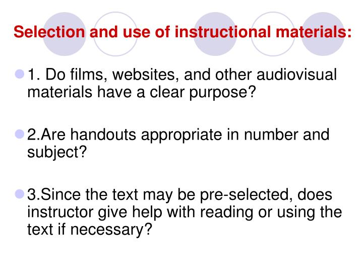 Selection and use of instructional materials: