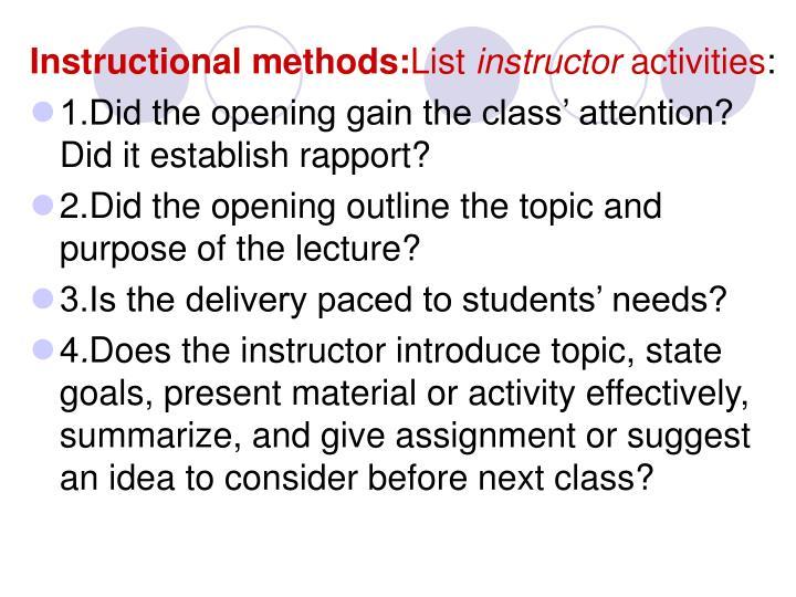 Instructional methods: