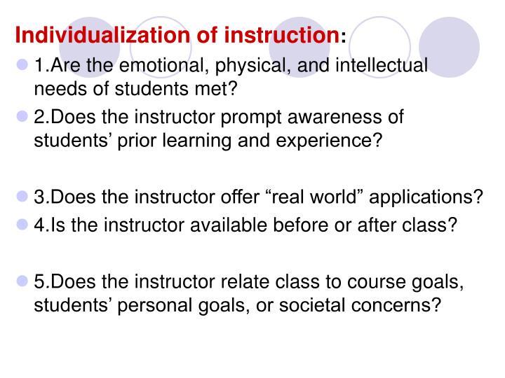 Individualization of instruction