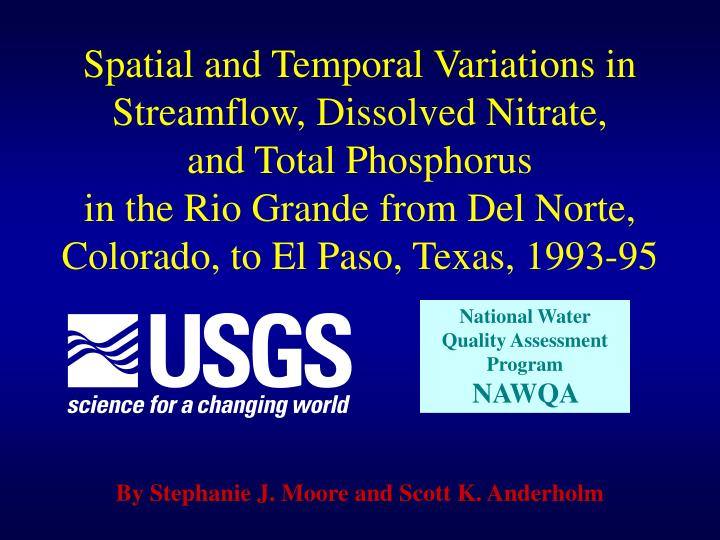 Spatial and Temporal Variations in Streamflow, Dissolved Nitrate,