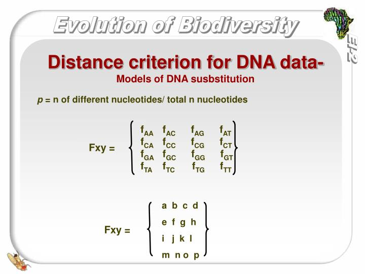 Distance criterion for DNA data-