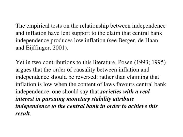 The empirical tests on the relationship between independence and inflation have lent support to the claim that central bank independence produces low inflation (see Berger, de Haan and Eijffinger, 2001).