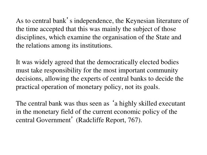 As to central bank