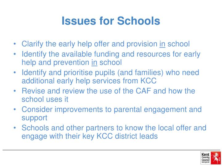 Issues for Schools