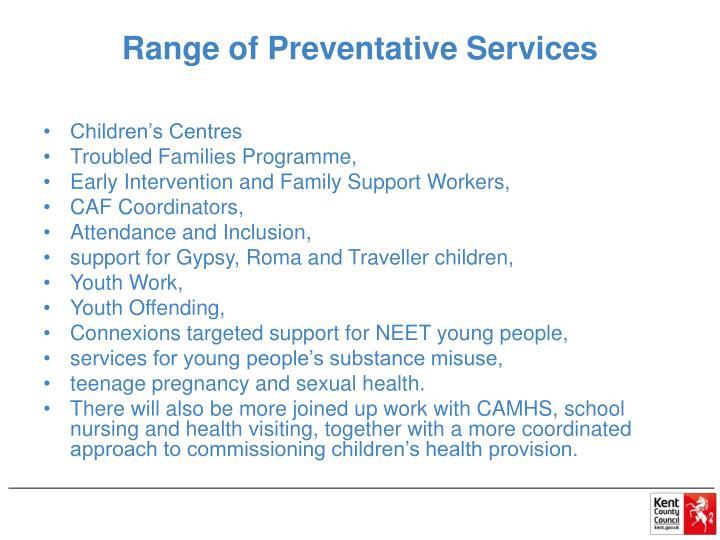 Range of Preventative Services