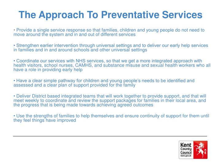 The Approach To Preventative Services