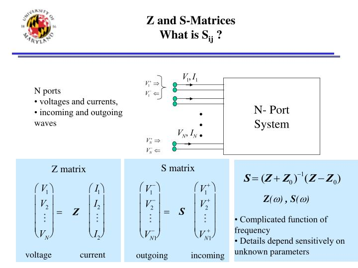 Z and s matrices what is s ij