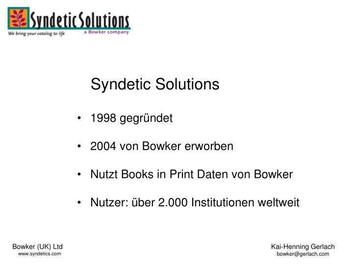 Syndetic Solutions