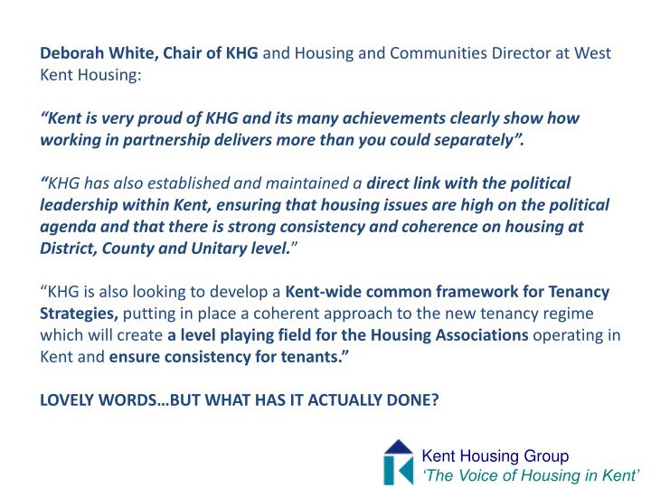 Deborah White, Chair of KHG