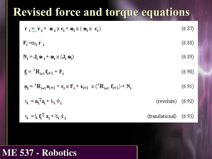 Revised force and torque equations