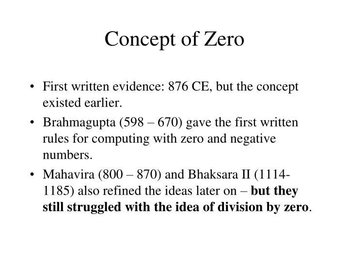 Concept of Zero