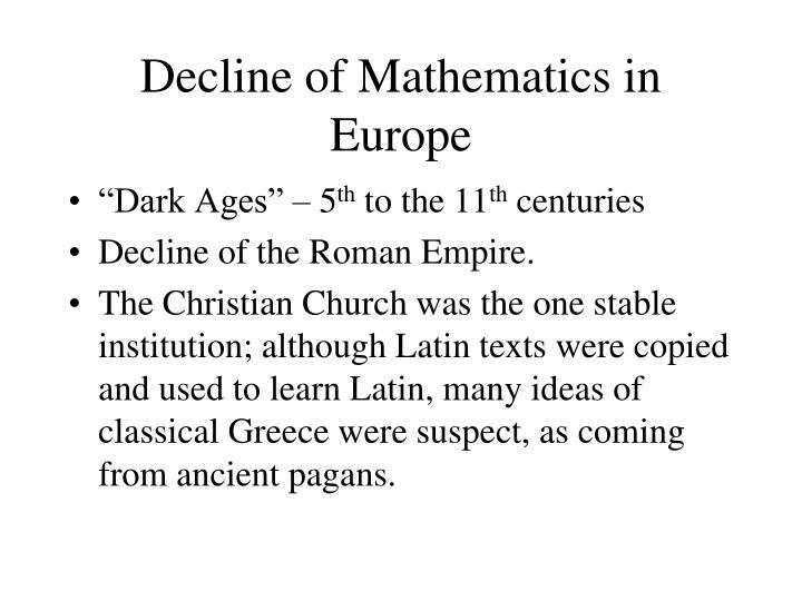 Decline of Mathematics in Europe