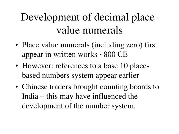 Development of decimal place-value numerals